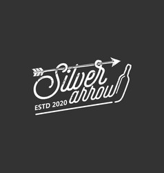 Silver arrow typography logo design bottle drink vector