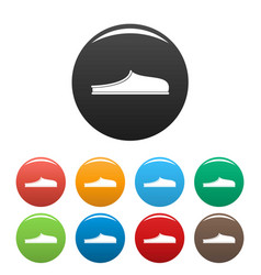 slippers icons set collection circle vector image