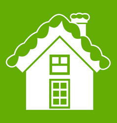 small snowy cottage icon green vector image
