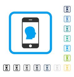 Smartphone contact human portrait framed vector