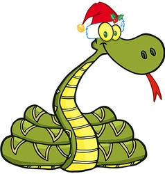 Snake With Santa Hat vector image
