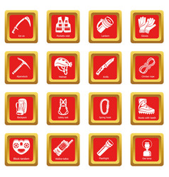 Speleology equipment icons set red square vector