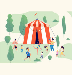 travelling circus street performance shapito in vector image