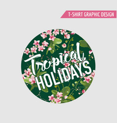 tropical orchid flowers background graphic t-shirt vector image