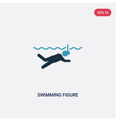 Two color swimming figure icon from sports vector