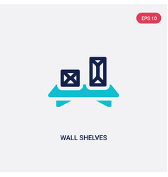 Two color wall shelves icon from furniture and vector