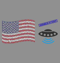 United states flag mosaic alien invasion and vector