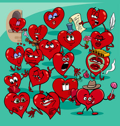 valentine hearts cartoon love group vector image