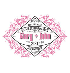 wedding invitation vintage style with floral vector image