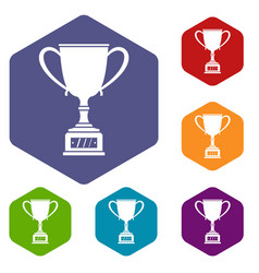 Winner cup icons set hexagon vector