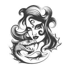 woman head with snake vector image