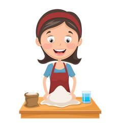 woman kneading dough vector image
