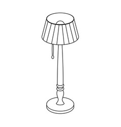 wooden floor lamp icon in outline style isolated vector image