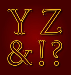 Y z letters ampersand exclamation and question vector