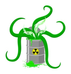 Barrel of Toxic waste and green tentacles o vector image