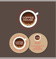 logo coffee house cup top vector image vector image