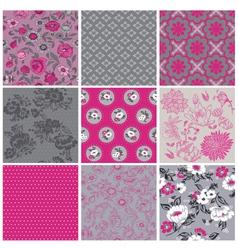 Seamless Vintage Flower Background Set vector image vector image