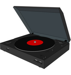 3d belt driven automatic record player vector