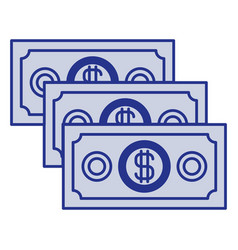 blue silhouette of money bills set vector image vector image