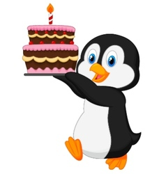 Cute penguin cartoon holding birthday cake vector image vector image