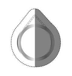 Grayscale silhouette sticker with circular frame vector