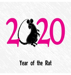 Rat mouse as symbol for year 2020 by Chinese trad vector image vector image