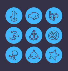 sea line icons set shark fish shell medusa vector image vector image