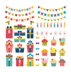set of birthday party or christmas design vector image