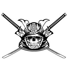 skull in samurai helmet and crossed katanas vector image