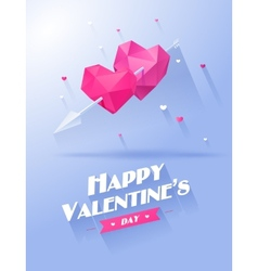 Valentines day Two hearts pink and violet on white vector image vector image