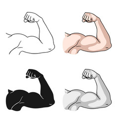 biceps icon in cartoon style isolated on white vector image