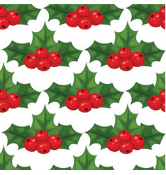 christmas berry decorative leaves holly branches vector image