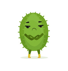 Cute suspicious cactus standing with folded hands vector