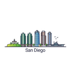 flat line san diego banner vector image