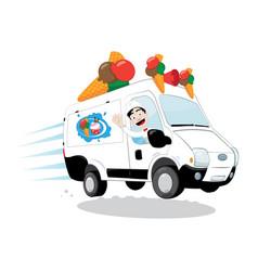 Ice-cream van driven by a friendly icecream man vector