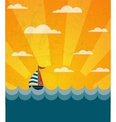 Say hello to summer retro of a boat and wavy sea vector