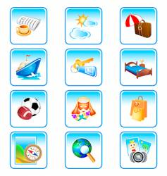 vacation icons complex series vector image vector image
