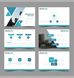blue triangle presentation templates infographic vector image vector image