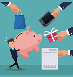 color background of businessman carrying a piggy vector image vector image