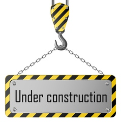 Construction plate with crane hook and chain vector
