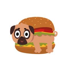 cute pug dog in hamburger funny dog character vector image vector image
