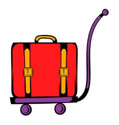 luggage on trolley icon cartoon vector image vector image