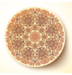 plate template with Indian mehndi round vector image