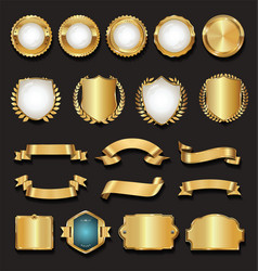 Retro golden ribbons labels and shields vector