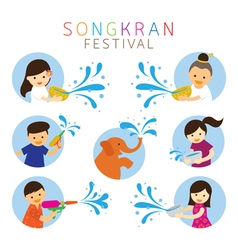 Songkran Festival Kids Character Playing Water vector image