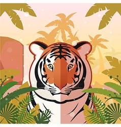 Tiger on the Jungle Background vector image