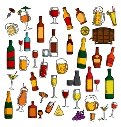 Alcohol drinks cocktails with snacks sketch icon vector