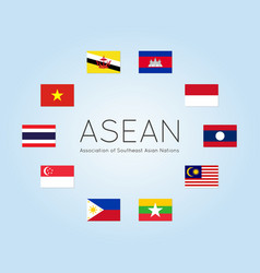 Asean countries flags flat style vector