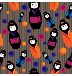 background with kokeshi dolls vector image