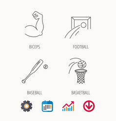 Baseball football and basketball icons vector